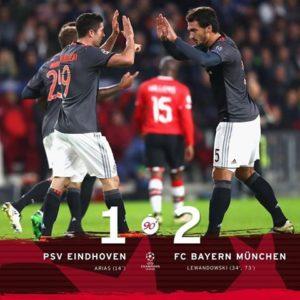 PSV Eindhoven 1 x 2 FC Bayern München